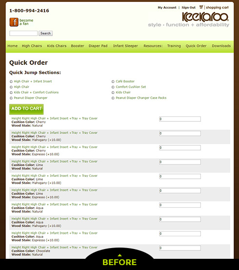 Quick Order Page